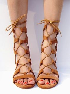 Shop Brown Suede Lace-up Gladiator Sandals with Gold Heels from choies.com .Free shipping Worldwide.$59.99