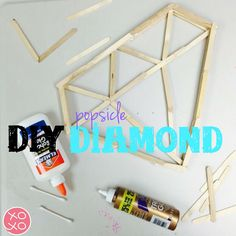 DIY Diamond out of Popsicle sticks!! You will need LOTS of regular sized Popsicle sticks and about 6 half sized ones. Outline the frame of the diamond and glue. Then fill it in (according to the picture) then build up the frame by two layers or as many as you want. Carefully flip it over and build up the frame to the same number of layers as the other side. Seal up the edges using a cotton swab and tacky glue. Whola! You can even spray paint it when it's completely dry. Add a hook and hang…