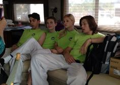 "All in matching outfits today (April Dylan Riley Snyder posted this photo of himself with his ""Kickin' It"" co-stars (Leo Howard, Mateo Arias and Kickin It Cast, Best Friends Whenever, Leo Howard, Disney Now, Olivia Holt, Tv Show Quotes, My Crush, Disney Channel, Favorite Tv Shows"