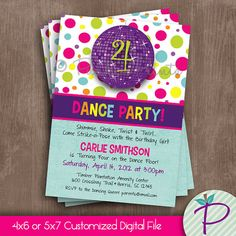 Dance Party Invitation, Dance Birthday Party Printable Invite