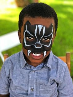 Black Panther Face Painting would look better without the tusks though. Face Painting Images, Face Painting Tips, Face Painting For Boys, Face Painting Tutorials, Face Painting Designs, Face Paintings, Tole Painting, Face Painting Halloween Kids, Superhero Face Painting