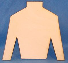 """The unfinished derby shirt wood cutout is made on-site from quality plywood and cut with a laser. Theunfinished derby shirt wood cutoutis approximately 4"""""""" x 3.75"""""""" x 1/8"""""""", but can be made large"""