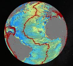 October 2014 gravity map of the Earth's oceans using data from the European Space Agency's CryoSat mission and the CNES-NASA Jason-1 satellite