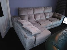 This modern sofa features electric recliners with adjustable headrests, storage under chaise and inside sofa arm provides additional practicality. Available in several sizes and configurations. Delivered to our client in Telford. Modern Sofa, Modern Bedroom, Contemporary Furniture, Recliners, Sofas, Leather Bed, Sofa Design, Electric, Arm