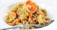 Recette de Risotto de crevettes au curry et basilic. Facile et rapide à réaliser, goûteuse et diététique. Ingrédients, préparation et recettes associées.