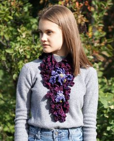 Iris Floral Scarf in a Purple soft bulky by ValerieBaberDesigns