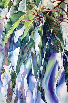 Dawn by Pat Hall Watercolour on stretched paper 137 x Watercolor Negative Painting, Watercolor Landscape, Watercolor Flowers, Watercolor Paintings, Watercolours, Leaf Drawing, Leaf Art, Patterns In Nature, Tree Art