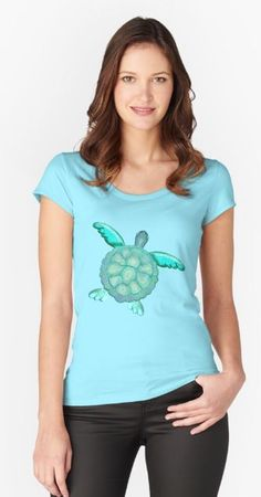 TYE AND DYE TURTLE 368 Fitted Scoop T-Shirt Designed and sold by sana90 Pastels, Turtle, Shirt Designs, Women's Fashion, V Neck, Turquoise, Unique, Fitness, T Shirt