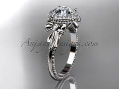 14kt white gold diamond unique engagement ring, wedding ring ADER157 - AnjaysDesigns
