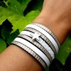 Bracelet manchette cuir étoile