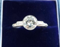 Gorgeous platinum art deco 1.30ct diamond solitaire engagement vintage antique ring by bjantiquejewellery on Etsy https://www.etsy.com/listing/529598263/gorgeous-platinum-art-deco-130ct-diamond
