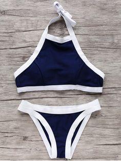 Bikinis noir col haut bandeau maillot de bain 73e3cb9e71a