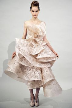 Marchesa Spring 2011 Origami Pink Tea Length Wedding Dress