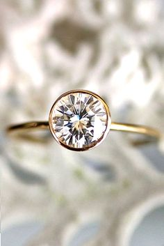Forever One Moissanite Gold Engagement Ring, Stacking Ring, Recycled Gold Ring - Custom Made For You. Forever Brilliant Moissanite Gold by louisagallery. Engagement Ring Stones Other Than Diamonds Wedding Rings Simple, Beautiful Engagement Rings, Engagement Ring Styles, Vintage Engagement Rings, Diamond Engagement Rings, Oval Engagement, Solitaire Diamond, Diamond Rings, Solitaire Rings