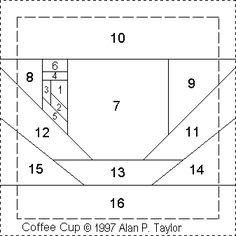 Coffee cup PP from Alan and Mike mini blocks Paper Pieced Quilt Patterns, Quilt Block Patterns, Pattern Paper, Paper Patterns, Patchwork Log Cabin, Crazy Quilt Blocks, Foundation Paper Piecing, Quilting Projects, Free Pattern