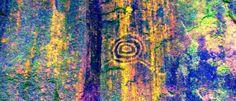 Perú - Machu Picchu-Fotografía del principal motivo del sector Inkaterra, consistente en círculos concéntricos con líneas salientes a modo de apéndice.