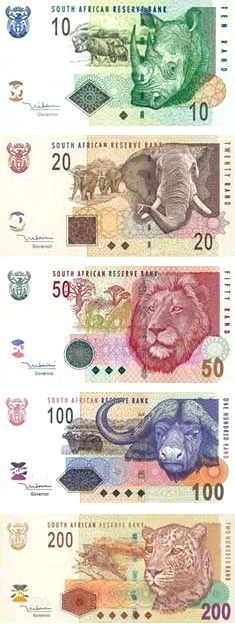South African Rand featuring Africa's Top 5. I heard they're getting rid of the animals and featuring Mandela on the new ones...: