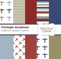 INSTANT Download Digital Scrapbooking Paper Pack Airplane Boys Blue Khaki Red and White Scrapbook Papers Kit vintage baby plane