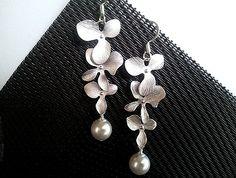 Triple Orchids Flowers Dangle Earrings  - Drop earrings,bridesmaid gifts,Wedding Earrings,christmas earrings, cocktail jewelry on Etsy, $23.50