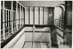 Swimming Pool, Titanic. A photograph of the Swimming Bath on Titanic, the biggest of its kind on any vessel. It cost 1 shilling to use the 30-by-14-foot pool, which included use of a costume. MEN AND WOMEN were NOT allowed to use the pool together.