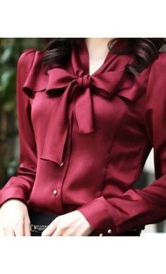 Womens modest long sleeve button up bowknot blouse.