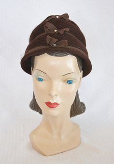 50s 60s Vintage Brown Velour Bee Hive Hat with by MyVintageHatShop
