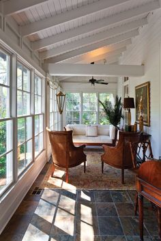 How cozy! Indoor porch with tiled floor and lots of natural light.: via How cozy! Indoor porch with tiled floor and lots of natural light.: via Mobile Bay Magazine Patio Interior, Interior Design, Four Seasons Room, Enclosed Porches, Front Porches, Porch Roof, Porch Ceiling, Ceiling Windows, Screen For Porch