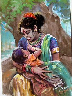 Art Indien, Indian Illustration, Indian Art Paintings, Indian Artwork, Mother Art, Art Village, India Art, Indian Artist, Portrait Art