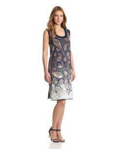 Cynthia Rowley Womens Bleached Paisley Tank Dress