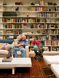 Dream home in Corona del Mar with ocean views. My dream is to have a beach view home in Corona del Mar! Hopefully we're this old couple living out our dream. Living Room Orange, My Living Room, Home And Living, Living Room Furniture, Home Library Design, House Design, Life Design, Wall Design, Bookcase Plans