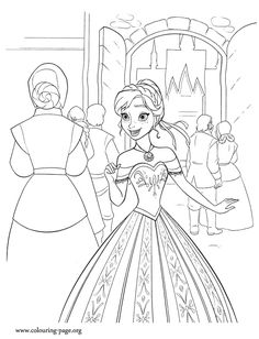 Look! Anna is excited because lots of people is arriving in Arendelle for the ceremony. Print and color this amazing Disney Frozen coloring sheet and have fun!