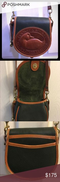 Dooney & Bourke vintage green big duck cross body This RARE vintage 1990's Dooney & Bourke hunter green big duck cross body is in really good pre-loved condition. It was my first designer bag and I was so proud of it and loved showing it off. There are general signs of use and age but all of the leather and brass are in great condition considering the age. I am open to reasonable offers (please don't offer me $20 and expect me to respond). I only sell on Poshmark. Thank you for shopping my…