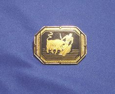 Retro Vintage Gold Bull & Matador  Bull Fighting Brooch / Pin