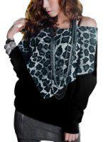 Amazon.com: Allegra K Women Leopard Print Front Scoop Neck Bat Wing Sleeve Shirt White S: Clothing