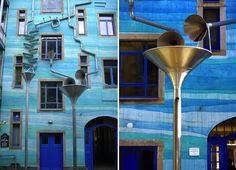 This Court of Water in Dresden, Germany is a wall decked out in tubes and funnels that make hydro music when it rains!