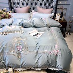 Egyptian Embroidery Cotton Luxury King Queen Size Bedding Set Duvet Co – ATY Home Decor Cheap Bedding Sets, Cotton Bedding Sets, Duvet Bedding Sets, Luxury Bedding Sets, Linen Bedding, Bed Linens, Bedding Decor, Affordable Bedding, Linen Pillows