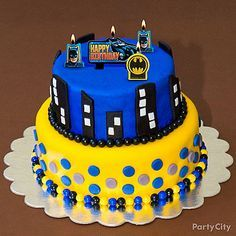 Here's a creative take on the Gotham Cityscape! Your little heroes will dive into munching action when they see this treat! Click for our Batman cake how-to!