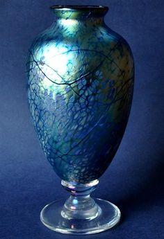 Richard Golding Station Glass Blue Footed Broad Vase  http://www.bwthornton.co.uk/isle-of-wight-richard-golding-bath-aqua-glass.php