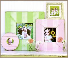 Love the idea of vintage frames in colors to match the room they are in.