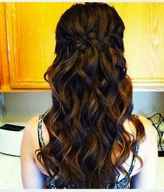 Waterfall Braid with big loose curls -Bree Lathrop Side Curly Hairstyles, Grad Hairstyles, Loose Curls Hairstyles, Prom Hairstyles For Long Hair, Prom Hair Updo, Homecoming Hairstyles, Braids For Long Hair, Pretty Hairstyles, Wedding Hairstyles