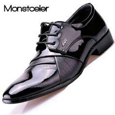 Tienda Online Monstceler Charol zapatos de Los Hombres de Moda de Estilo  Británico Zapatos de Vestir Punta estrecha Mens Zapatos de Trabajo Zapatos  de La ... 4cde437e63b4