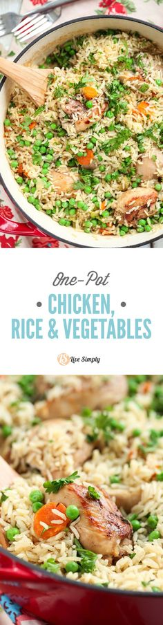 Healthy, inexpensive, family-friendly, and one-pot! This one-pot real food meal is a family favorite. No cans or processed ingredients. (One Pot Chicken Dishes) Real Food Recipes, Chicken Recipes, Cooking Recipes, Healthy Recipes, Budget Recipes, Chicken Meals, Healthy Dishes, Savoury Dishes, Family Recipes