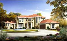 <p>This <strong> Stucco Mediterranean inspired Texas house plan </strong> has a balcony and wrought iron rail located over the entry. A curved stair takes us to the balcony, overlooking the great room on one side and the foyer on the other. Some of the most significant features are a large and luxurious master suite, a sun room with a spa and a game room with a wet bar and wine cellar.</p>