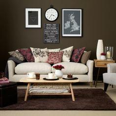 Wohnzimmer Braun Weiß Sofa Rosa Rot Farbe