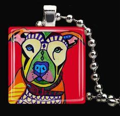 Pit Bull Jewelry Pendant Necklace Dog Art by HeatherGallerArt, $28.00
