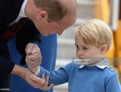 Prince Wiliam, Duke of Cambridge and Prince George of Cambridge arrive at Victoria Airport for the start of the Royal Tour on September 24, 2016 in Victoria, Canada.