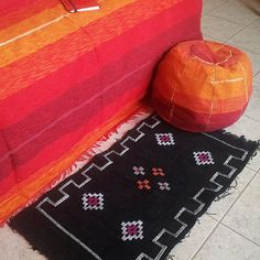 Burnt orange and red Moroccan pouf by OccidentallyInLove on Etsy