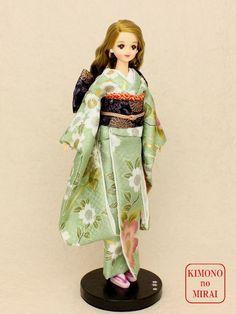 Best Japanese KIMONO dress,Green Kimono,for dolls Jenny,Momoko,Pullip outfit #ClothingAccessories
