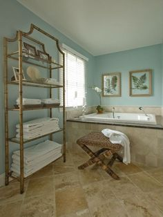 Blue-green bathroom wall color goes well with sand-colored tiles. - Blue-green bathroom wall color goes well with sand-colored tiles. Beige Tile Bathroom, Bathroom Wall Colors, Bathroom Color Schemes, Travertine Bathroom, Brown Bathroom, Bamboo Bathroom, Master Bathroom, Bathroom Ideas, Bathroom Storage