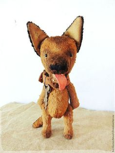 Щенок немецкой овчарки. Собачка-тедди - коричневый,Немецкая овчарка,игрушка овчарка
